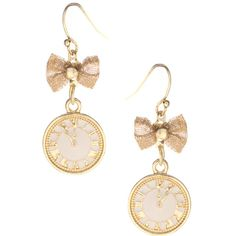ASOS Clock And Bow Drop Earrings (11 AUD) ❤ liked on Polyvore featuring jewelry, earrings, accessories, brincos, fillers, jewellery woearrings, womenswear, drop earrings, fish hook jewelry and earring jewelry