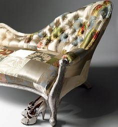 this patchwork victorian chaise by squint is so luxurious Victorian Furniture, Funky Furniture, Unique Furniture, Furniture Design, Chair Design, Painted Furniture, Patchwork Chair, Crazy Patchwork, Patchwork Ideas