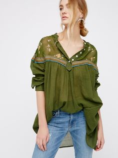 Hearts and Colors Top | Retro-inspired blouse in a flowy silhouette. With printed sheer chiffon along the neckline and button closures on the placket. Striped and sheer bottom-half with hip pockets.
