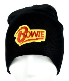 David Bowie Lighting Bolt Beanie Knit Cap Alternative Rock Clothing