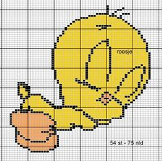 Cross Stitch Fairy, Cross Stitch Charts, Cross Stitch Patterns, Tweety, Baby Motiv, Baby Looney Tunes, Knitting Machine Patterns, Stitch Cartoon, Stitch Book