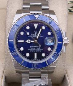 Relógio Rolex Oyster Perpetual Date SUBMARINER – 16233 – Prata & Fundo Azul – Réplica Premium AAA+ Rolex Oyster Perpetual, Rolex Watches, Woman Watches, Female Models, Designer Clocks, Luxury Jewelry, Blue Nails
