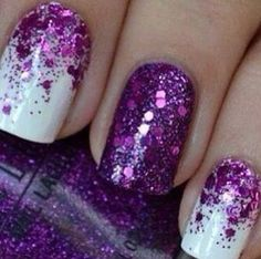 16 Cool Images of Pretty Purple Nail Designs. Purple Nail Designs Pretty Purple Nails Purple Nail Designs Purple and Silver Nail Art Design Purple and Black Nail Designs Purple Glitter Nails, Purple Nail Art, Sparkle Nails, Fancy Nails, Purple Sparkle, White Nails, White Glitter, Glittery Nails, White Polish