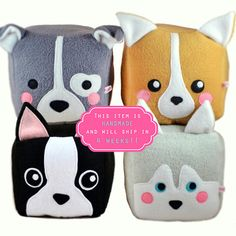 Dog cube plushie/Pitbull Bull Terrier / Corgi / Boston Terrier / Husky / Shiba Inu / Dog loaf plush toy