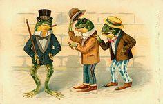 Dressed Frog Trio on Street Victorian Illustration Modern Postcard Vintage Postcards, Vintage Images, Vintage Art, Funny Postcards, Vintage Kids, Vintage Circus, Vintage Style, Funny Frogs, Cute Frogs