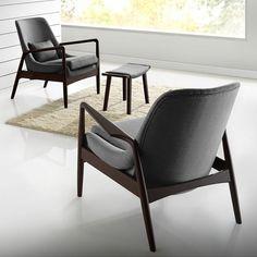 Upholstered Lounge Chair Mid Century Modern Grey Fabric Foam Seat Furniture New #BaxtonStudio #MidCenturyModern #Chair #Seat #Modern #Furniture