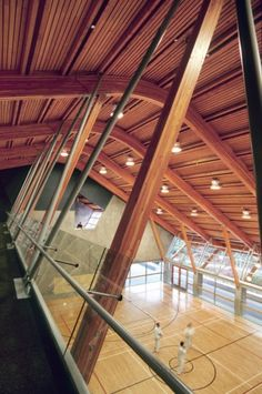 Gleneagles Community Center / Patkau Architects; West Van. Ventilation is accomplished using a displacement system. 100% fresh air is tempered and supplied at low velocity at low levels. This air rises, flushing contaminants upward, where it is then captured and exhausted through a heat recovery ventilator. Since air is not being used as a medium for climate control, opening windows and doors does not affect the performance of the heating and cooling system.