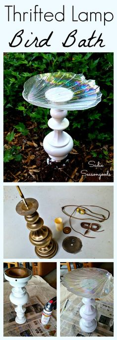 A heavy, outdated vintage brass lamp from the thrift store is the perfect base for a sturdy, repurposed bird bath. De-electrifying it is easy and then all you need to do is add a shallow glass platter to the top! A great thrift store DIY makeover and the perfect upcycle craft project to add whimsy and natural function to your yard. #SadieSeasongoods / www.sadieseasongoods.com