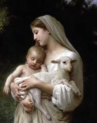 Religious art...Mary and Jesus the lamb of God