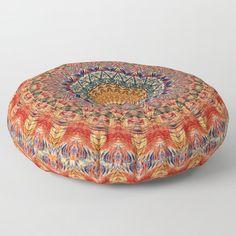 Indian Summer I - Colorful Boho Feather Mandala Floor Pillow Floor Pillows, Throw Pillows, Indian Summer, Pillow Shams, Fall Decor, Bean Bag Chair, Decorative Bowls, Mandala, Feather
