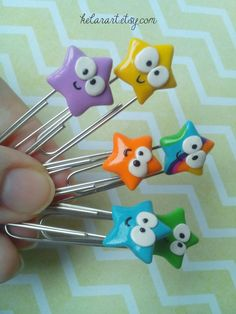 polymer clay star paperclips