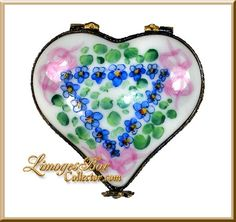 Classic Heart Blue Flowers Pink Bows Limoges Box