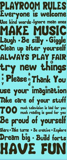 Wall Decal quote - Playroom Rules  - Vinyl Wall Art Quote. $72.00, via Etsy.