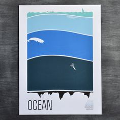 "Ocean by Brainstorm; 5 color silkscreen print; 18""x24"""