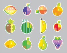Fruit icons on Behance