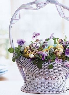 basket of flowers and eggs