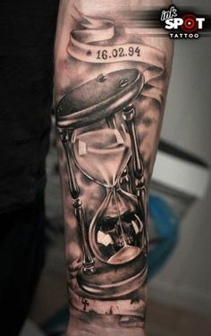 What does hourglass tattoo mean? We have hourglass tattoo ideas, designs, symbolism and we explain the meaning behind the tattoo. Hand Tattoos, Forarm Tattoos, Forearm Sleeve Tattoos, Time Tattoos, Skull Tattoos, Body Art Tattoos, Tattoos For Guys, Cool Tattoos, Gangsta Tattoos