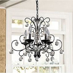 @Overstock - Finished in gorgeous brushed oak, this chandelier is a great addition to any lighting design.  The chandelier base is constructed of sturdy iron to ensure a long lasting illuminating centerpiece for your decor.   http://www.overstock.com/Home-Garden/Messina-5-light-Wrought-Iron-and-Crystal-Chandelier/6421534/product.html?CID=214117 $161.99