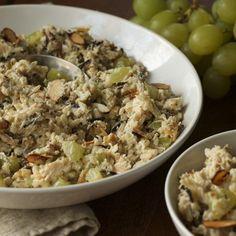 Chicken Wild Rice Salad - box wild rice - rotisserie chicken - green grapes - toasted sliced almonds - light mayo - kosher salt