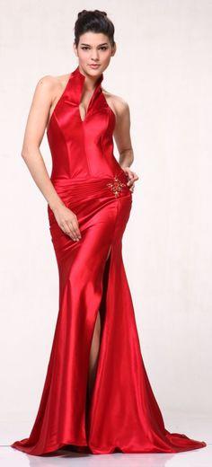 Red Collar Halter Dress Satin Formal Open Slit Sexy Full Length Gown $117.99