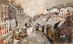 Gallery of Works Mike Bernard, Port Isaac, Rooftops, Cornwall, Fields, Mixed Media, Landscapes, Houses, Paintings
