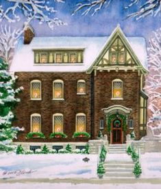 Watercolor portrait of U City Home winter snow scene. Created by Custom House Portraits by Richelle Flecke Home Landscape Art, Wedding Party Games, Winter Drawings, Barn Art, House Illustration, Diy House Projects, Snow Scenes, Watercolor Portraits, Watercolor Paintings