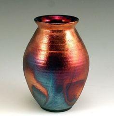 Raku Pottery, Chris Hawkins - Gorgeous cooper hue on this raku vase