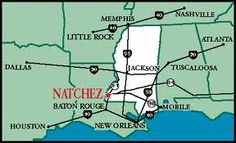 Map showing strategic position of Natchez to major markets