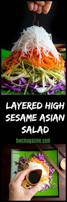 Layered High Sesame Asian Salad is piled high with long thin sliced vegetables and a rocking tamari ginger dressing. Chinese New Year luck and prosperity! Greek Salad Recipes, Healthy Salad Recipes, Vegan Recipes, Drink Recipes, Easy Recipes, Baking With Julia, Vegetarian Cabbage, Rainbow Food, Vegan Dishes