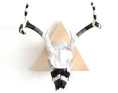 #deco #deer #skull #pink #black #white