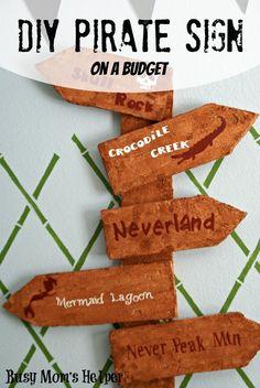 DIY Pirate Sign on a Budget / by www.BusyMomsHelper.com #pirates #boyrooms #partydecor #floracraft #styrofoam