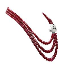 View this item and discover similar for sale at - An important collection of burmese (no heat) ruby beads necklace with a diamond clasp. The ruby beads weigh a total of carats and accompany a gemological Ruby Necklace, Ruby Jewelry, Bead Jewellery, Beaded Jewelry, Fine Jewelry, Jewelry Necklaces, Ruby Beads, Pearl Beads, Gemstone Jewelry