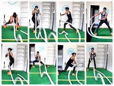 Workout Exercise Try these 22 Battling Ropes Exercises and 5 Battling Ropes Workouts. Battle Rope Workout, Strength Workout, Rope Exercises, Aerobic Exercises, Fitness Exercises, Rope Training, Waist Training, Battle Ropes, Academia