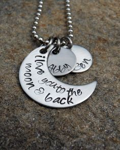 Personalized Necklace -  I love you to the moon and back - Hand Stamped with Names. $28.00, via Etsy.