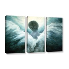 Marina Petro's Ascending Angel, 3 Piece Gallery Wrapped Canvas Set is a high-quality canvas print in which blessings from heaven bring you an angel of light. A peaceful addition to any home or office.
