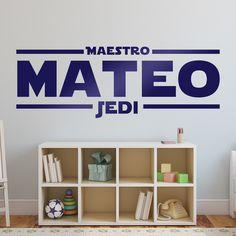 Stickers muraux: Master Jedi con nombre personalizado. Vinyle décoratif Star Wars. #starwars #vinyle #mur #decoration #jedi #deco #WebStickersMuraux