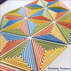 Paper Embroidery Patterns Stitching on card paper embroidery pattern of triangles. Embroidery Cards, Cross Stitch Embroidery, Cross Stitch Patterns, Geometric Embroidery, Embroidery Patterns, Hand Embroidery Designs, Embroidered Paper, Card Patterns, Doily Patterns