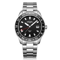 This Mens Rotary GMT Watch with Green Dial features Stainless steel case, large luminescent hour markers and hands, red arrow tip hour hand, a date window at 3 o clock while the case diameter is Rotary Watches, Rolex Watches, Stainless Steel Bracelet, Stainless Steel Case, Sport Watches, Cool Watches, Luxury Watches For Men, Link Bracelets, Quartz Watch