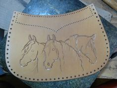 horse pattern Horses in leather by Brenda Lovejoy - WetCanvas Leather Carving, Leather Art, Leather Tooling, Diy Leather Working, Leather Working Patterns, Leather Diy Crafts, Leather Projects, Horse Pattern, Brown Leather Sandals