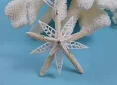 Starfish Ornament, Shell Ornament, Beach Decor Christmas Ornament, Beach Wedding, Seashell Ornament, Coastal Decor, Nautical Decor, White More