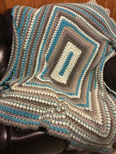 Crochet Modern Rectangle Granny Afghan by Jeanne Steinhilber