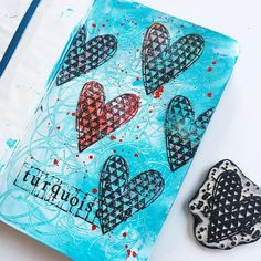"Day 18 of 365 in my daily Moleskine. Prompt of the day - Turquoise Another one of my favorite colors - yeah, I have a couple  But even better than ""just"" turquoise is turquoise combined with a little bit of red... The cute heart stamp is a limited edition that I designed for Version Scrap last year..."