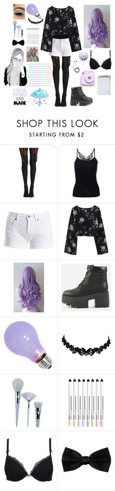 """""""Pastel Goth #9"""" by godfidence ❤ liked on Polyvore featuring Barbour International, Unicorn Lashes, Diane Von Furstenberg and Polaroid"""