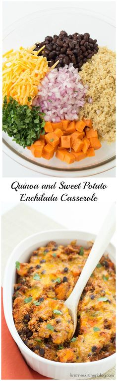 You will LOVE this enchilada bake, with quinoa, black beans, sweet potatoes, and cheese! #comfortfood | Kristine's Kitchen