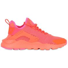 Nike Women Air Huarache Ultra Mesh Sneakers ($130) ❤ liked on Polyvore featuring shoes, sneakers, coral, nike, nike trainers, nike sneakers, mesh shoes and rubber sole shoes