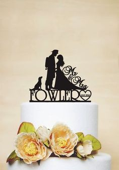 Wedding Cake Topper, Custom Cake Topper with Surname, date and dog,Fireman wedding,Bride and Firefighter Acrylic Decoration-C128
