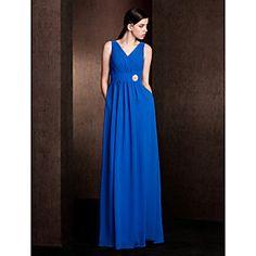 Sheath/Column V-neck Floor-length Chiffon Bridesmaid Dress (2048891)