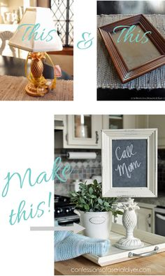 Lamp to Memo Chalkboard She took a thrift store lamp and a frame from a flea market swap and created a fabulous message board. Upcycled Home Decor, Diy Home Decor, Craft Projects, Projects To Try, Recycling Projects, Recycle Crafts, Craft Ideas, Lamp Makeover, Thrift Store Crafts