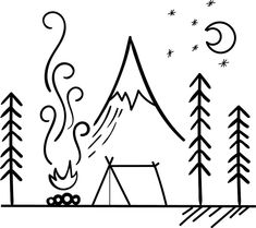 'Camping Scene Outdoors' Sticker by tbootz Mini Drawings, Small Drawings, Doodle Drawings, Art Drawings Sketches, Easy Drawings, Campfire Drawing, Camping Tattoo, Outdoor Stickers, Mountain Drawing