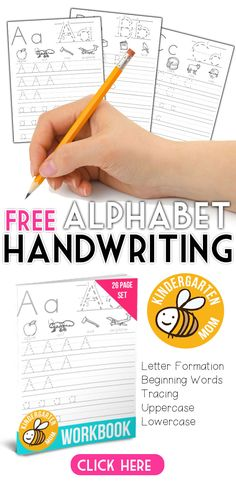 Free alphabet handwriting worksheets from http://kindergartenmom.com/?utm_campaign=coschedule&utm_source=pinterest&utm_medium=Preschool%20Kindergarten%20Mom&utm_content=Alphabet%20Printables  This set includes letter formation examples, beginning letter words, and tracing practice for uppercase and lowercase letters…